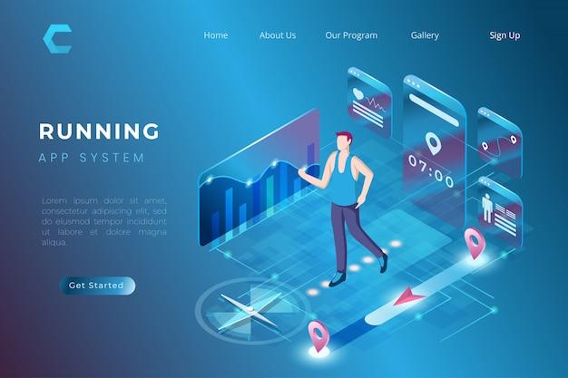 Ilustração de fitness usando a tecnologia de estatísticas de saúde digital em estilo 3d isométrico