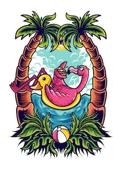 Ilustração de flamingo de verão