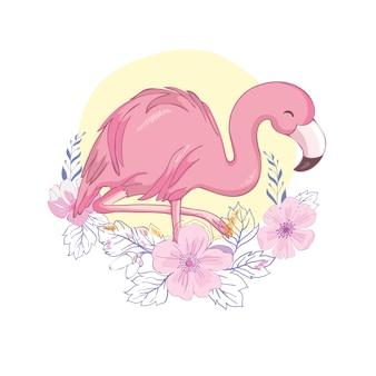 Ilustração de flamingo fofa
