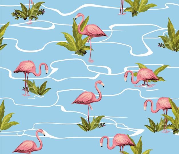 Ilustração de flamingo padrão sem emenda
