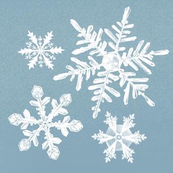 Ilustração de floco de neve de inverno em conjunto de fundo azul