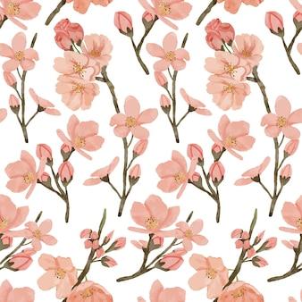 Ilustração de flor de cerejeira pintada à mão em aquarela primavera padrão de repetição