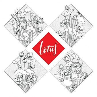 Ilustração de flor de lótus em conjunto de forma de losango