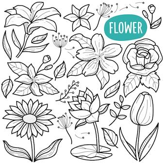 Ilustração de flor em preto e branco doodle