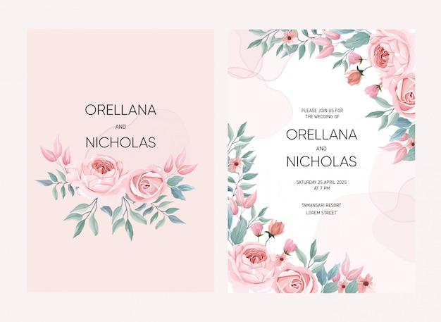 Ilustração de flor rosa para cartão de casamento