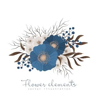Ilustração de flores azuis