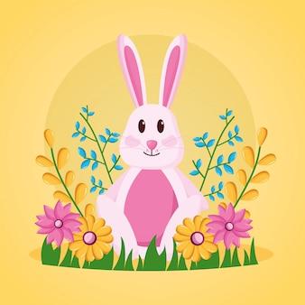 Ilustração de flores coelho fofo