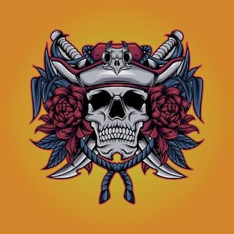 Ilustração de flores do crânio do chapéu do pirata