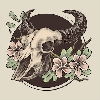 Ilustração de flores e crânio de touro