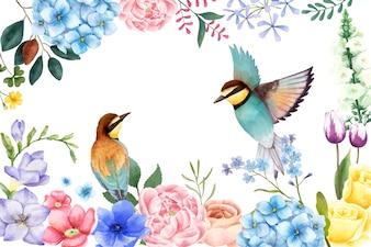 Ilustração de flores e pássaros pintados à mão