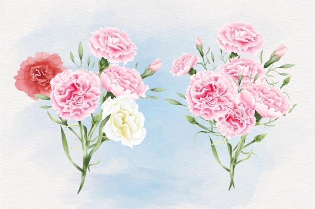 Ilustração de flores em aquarela de cravo