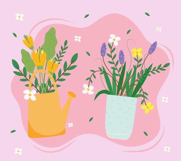 Ilustração de flores em vasos de cerâmica