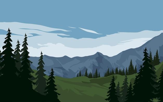Ilustração de floresta de montanha alpina