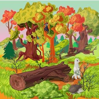 Ilustração de floresta e animais