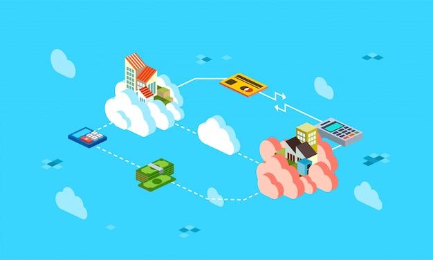 Ilustração de fluxo de transação de dinheiro on-line isométrica, transferência de dinheiro on-line isométrica 3d usando cartão de crédito-vetor