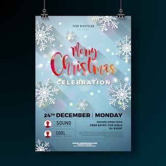 Ilustração de flyer de festa de natal com flocos de neve