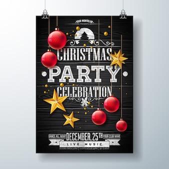 Ilustração de flyer de festa de natal