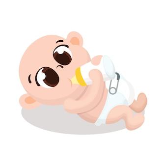 Ilustração de fofo bebê segure a garrafa de leite com estilo cartoon