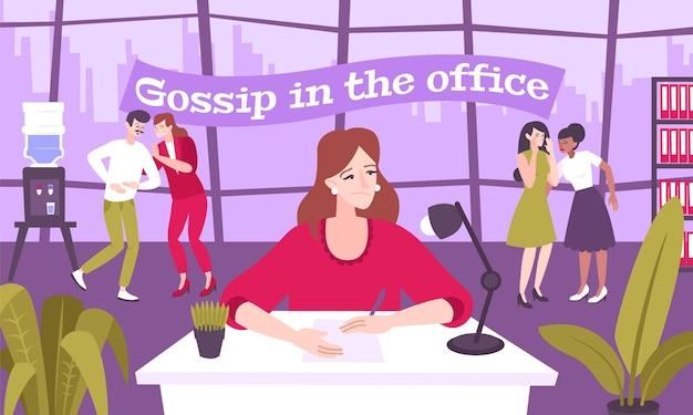 Ilustração de fofoca no escritório