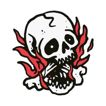 Ilustração de fogo de caveira