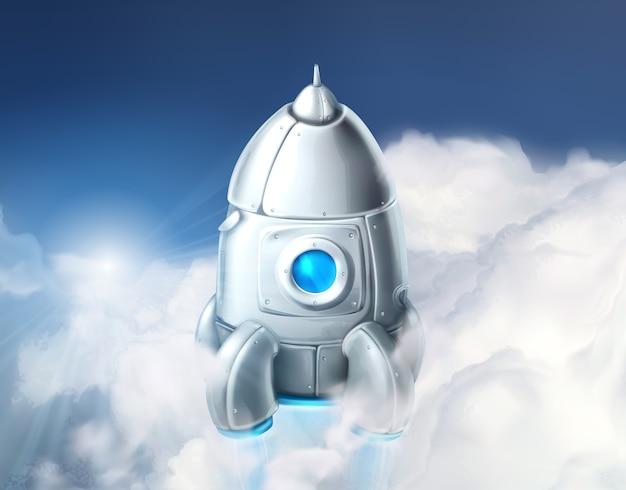 Ilustração de foguete nas nuvens