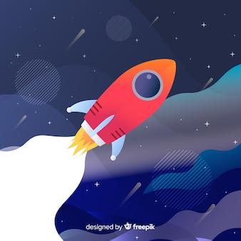 Ilustração de foguete plana gradiente
