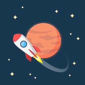 Ilustração de foguete voando no espaço ao redor de marte