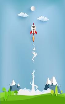Ilustração de foguete voando sobre nuvem