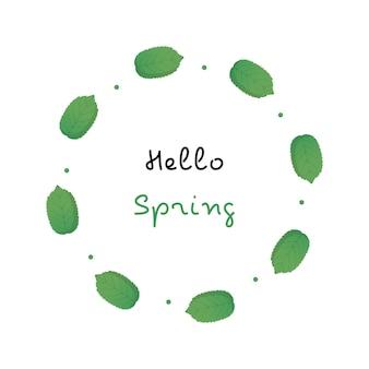 Ilustração de folha circular com tema de primavera
