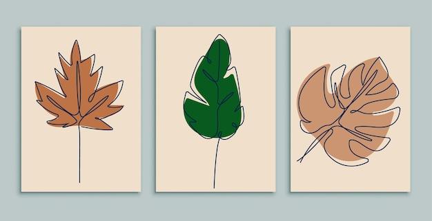 Ilustração de folha de arte em linha contínua com conjunto de design de folhas