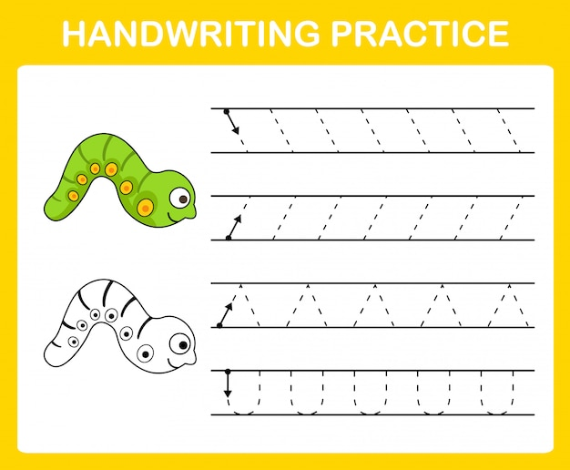 Ilustração de folha de prática de caligrafia