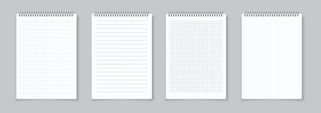 Ilustração de folhas de cadernos realistas