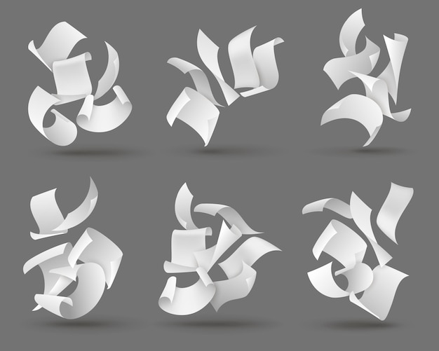 Ilustração de folhas de papel caindo