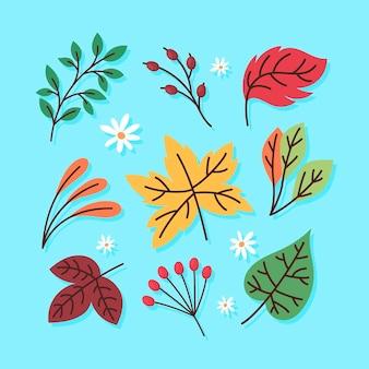 Ilustração de folhas desenhadas à mão