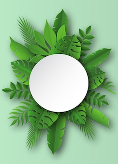 Ilustração de folhas tropicais de papel
