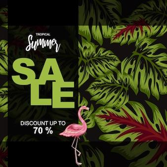 Ilustração de folhas tropicais para cartaz de venda de verão