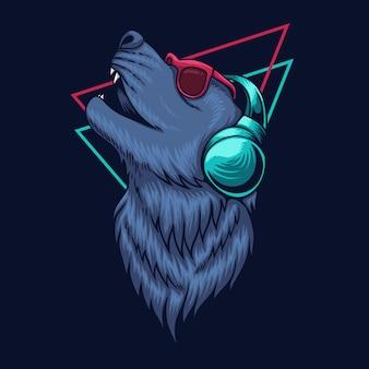 Ilustração de fone de ouvido lobo