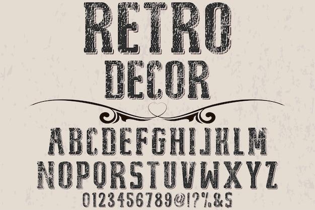 Ilustração de fonte de alfabeto de decoração retrô