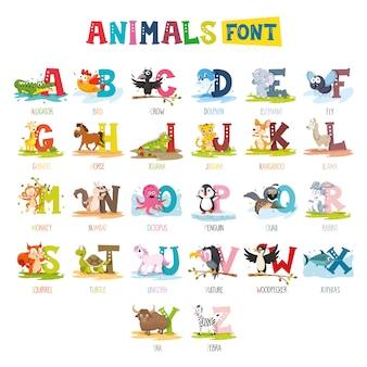 Ilustração de fonte de animais dos desenhos animados