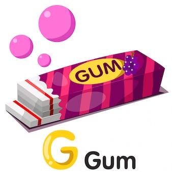 Ilustração de fonte g com goma