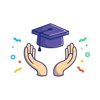 Ilustração de formatura. mão jogando chapéu de formatura. conceito de educação branco isolado