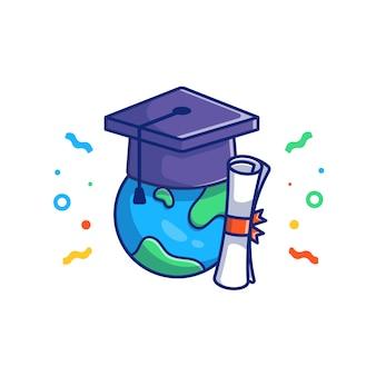 Ilustração de formatura. tampão e diploma da graduação. conceito de educação branco isolado
