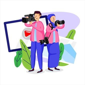 Ilustração de fotógrafo e cinegrafista