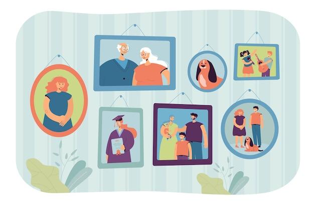 Ilustração de fotos de família em molduras