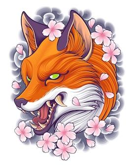 Ilustração de fox head com arte de tatuagem japonesa