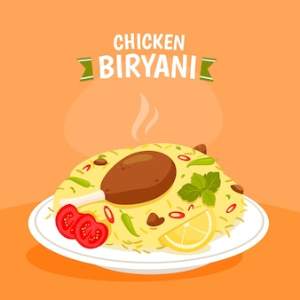Ilustração de frango biryani desenhada à mão