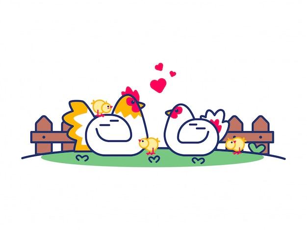Ilustração de frango bonito dos desenhos animados