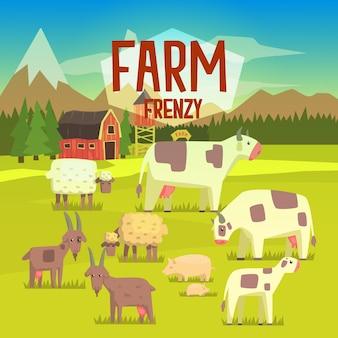Ilustração de frenesi de fazenda com campo cheio de animais