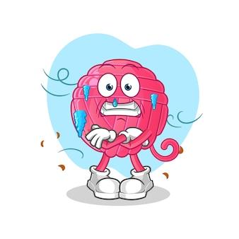 Ilustração de frio de bola de fios. personagem