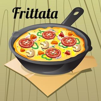 Ilustração de frittata de comida italiana